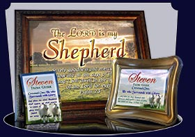 BM-AN03, Name Meaning Bookmark, Personalized with Bible Verse or Famous Quote, two lambs sheep Steven