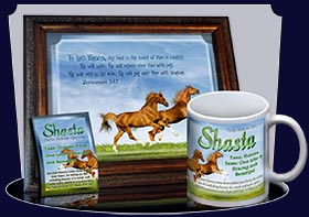 BM-AN42, Name Meaning Bookmark,   Personalized with Bible Verse or Famous Quote, Playful Horses happy joyful Shasta brown