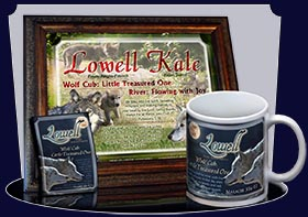 BM-AN54, Name Meaning Bookmark, Personalized with Bible Verse or Famous Quote, lowell wolf cub wolves moon night dark
