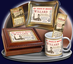 BM-CA02, Name Meaning Bookmark, Personalized with Bible Verse or Famous Quote, willard  boy scouts stamp collecting