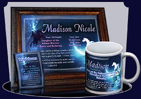 BM-CR09, Name Meaning Bookmark, Personalized with Bible Verse or Famous Quote,, personalized, madison white horse moon