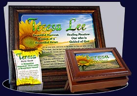 BM-FL01, Name Meaning Bookmark, Personalized with Bible Verse or Famous Quote,, personalized, teresa sunflower flower