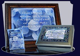 BM-FL33, Name Meaning Bookmark, Personalized with Bible Verse or Famous Quote,, personalized, floral flower, blue soft flowers Gemma