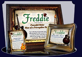 BM-MU15, Name Meaning Bookmark, Personalized with Bible Verse or Famous Quote,, personalized, music notes freddie fred frederick guitar acoustic