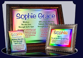 BM-SM12, Name Meaning Bookmark, Personalized with Bible Verse or Famous Quote,, personalized, baby name, rainbow, sophie simple, basic
