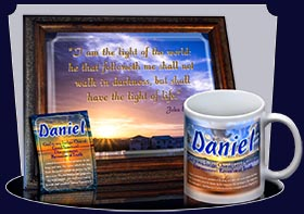 BM-SS14, Name Meaning Bookmark, Personalized with Bible Verse or Famous Quote,, personalized, daniel, sunset, beach, ocean, sand