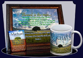 BM-TR13, Name Meaning Bookmark, Personalized with Bible Verse or Famous Quote,, personalized, lone tree integrity, michael