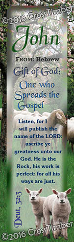 BM-AN02, Name Meaning Bookmark, Personalized with Bible Verse or Famous Quote, sheep flock lambs shepherd john
