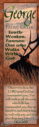 BM-AN35, Name Meaning Bookmark, Personalized with Bible Verse or Famous Quote, elk hunt, hunter, deer buck george