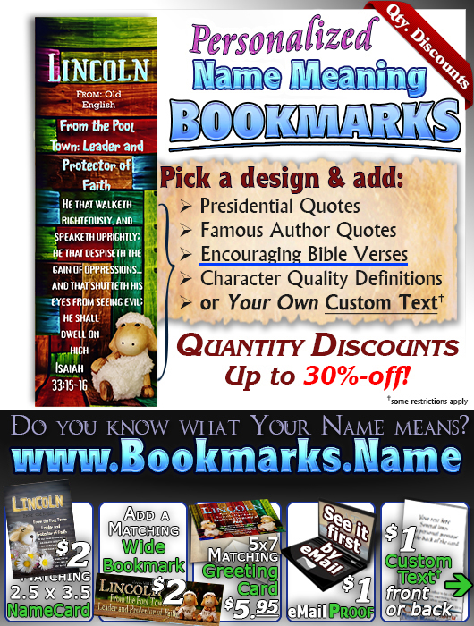 BM-AN01, Name Meaning Bookmark, Personalized with Bible Verse or Famous Quote, sheep flock lambs shepherd lynnae