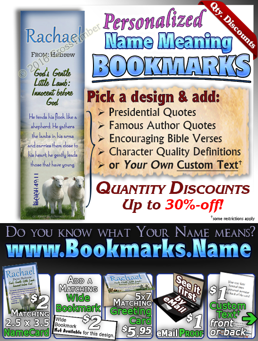 BM-AN04, Name Meaning Bookmark, Personalized with Bible Verse or Famous Quote, Rachel Rachael sheep lambs flock shepherd