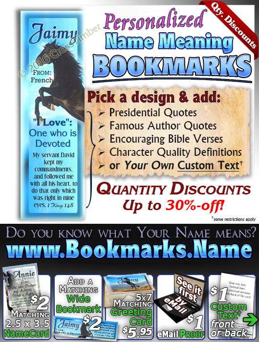 BM-AN29, Name Meaning Bookmark, Personalized with Bible Verse or Famous Quote, Jaimy black horse beauty stallion