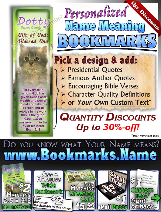 BM-AN50, Name Meaning Bookmark, Personalized with Bible Verse or Famous Quote, morgan cute fuzzy kittens cats
