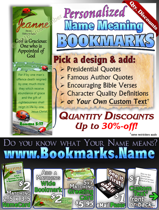 BM-AN61, Name Meaning Bookmark, Personalized with Bible Verse or Famous Quote, ladybug bug jeanne garden