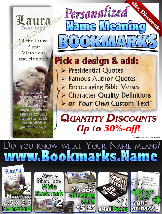 BM-AN62, Name Meaning Bookmark, Personalized with Bible Verse or Famous Quote, sheep ram shepherd flock lamb staff Laura