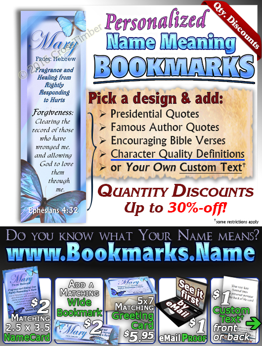 BM-BF02, Name Meaning Bookmark, Personalized with Bible Verse or Famous Quote, butterfly blue mary