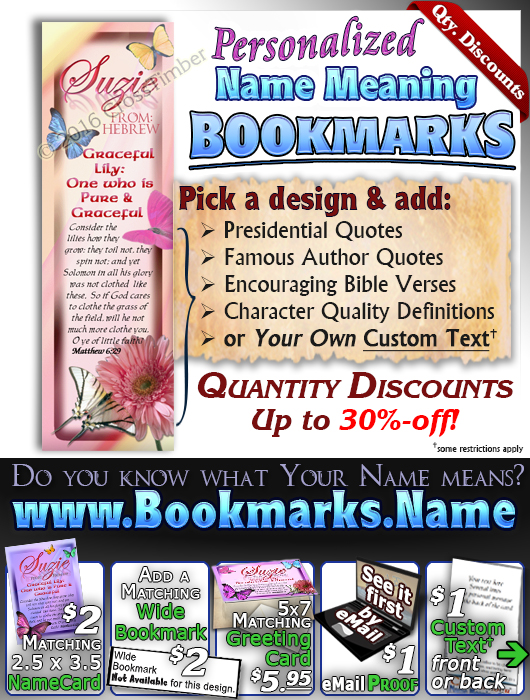 BM-BF05, Name Meaning Bookmark, Personalized with Bible Verse or Famous Quote, butterfly  suzie pink