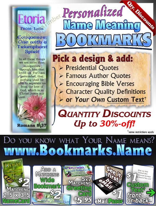 BM-BF06, Name Meaning Bookmark, Personalized with Bible Verse or Famous Quote, butterfly  etoria