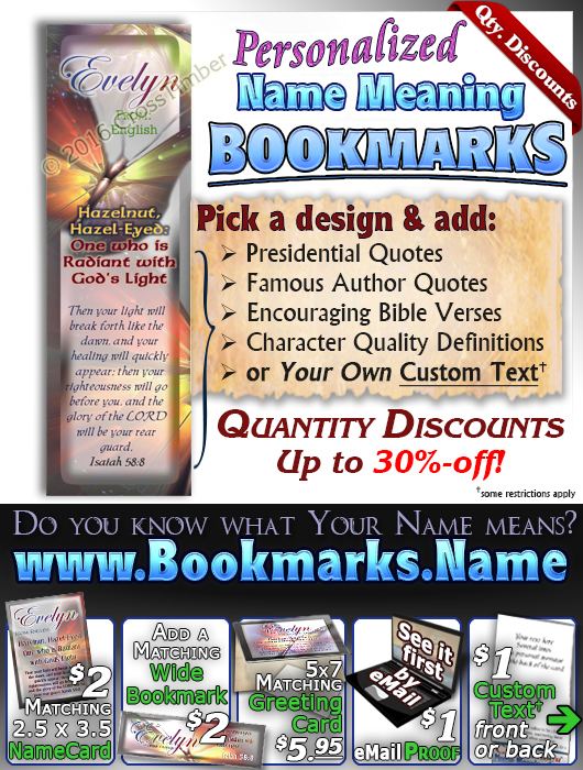 BM-BF08, Name Meaning Bookmark, Personalized with Bible Verse or Famous Quote, butterfly  evelyn