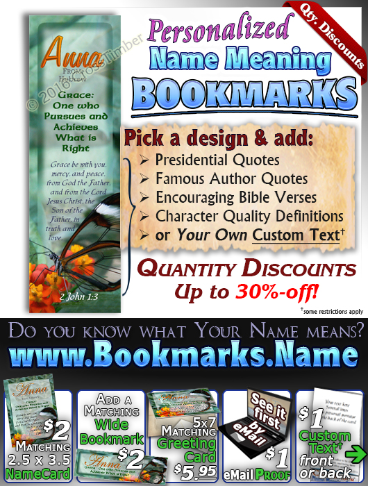 BM-BF13, Name Meaning Bookmark, Personalized with Bible Verse or Famous Quote, butterfly  green garden Anna