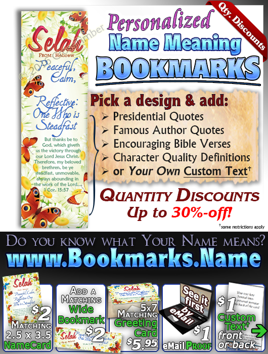 BM-BF15, Name Meaning Bookmark, Personalized with Bible Verse or Famous Quote, butterfly daisy butterfly selah