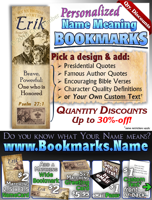 BM-CA01, Name Meaning Bookmark, Personalized with Bible Verse or Famous Quote, erik boy scouts stamp collecting