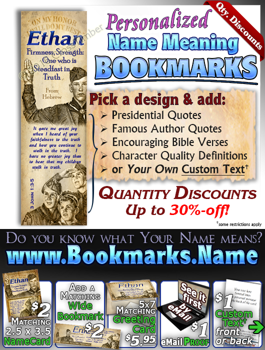 BM-CA03, Name Meaning Bookmark, Personalized with Bible Verse or Famous Quote, ethan boy scouts stamp collecting