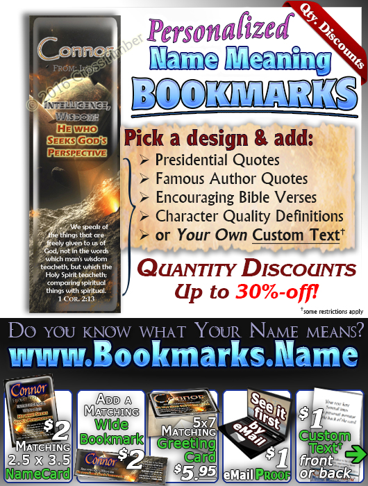 BM-CR01, Name Meaning Bookmark, Personalized with Bible Verse or Famous Quote,, personalized, space asteroid connor