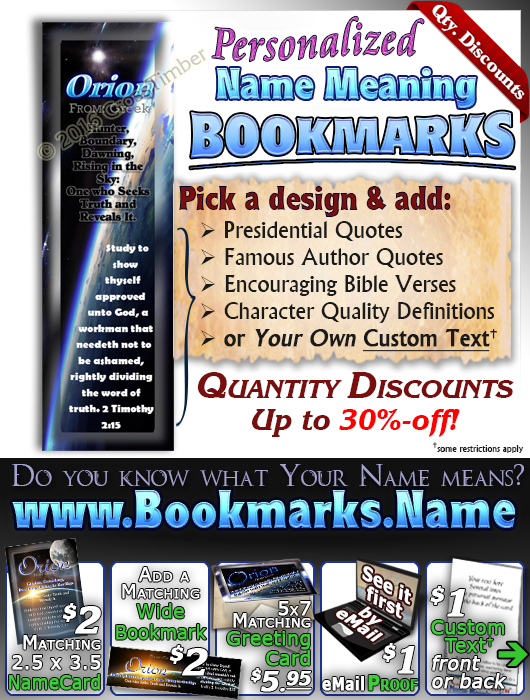 BM-CR02, Name Meaning Bookmark, Personalized with Bible Verse or Famous Quote,, personalized, space planet Orion