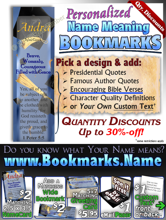 BM-EV03, Name Meaning Bookmark, Personalized with Bible Verse or Famous Quote,