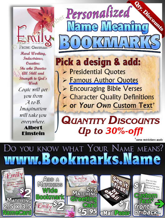 BM-FL09, Name Meaning Bookmark, Personalized with Bible Verse or Famous Quote,, personalized, flower, emily pink lily