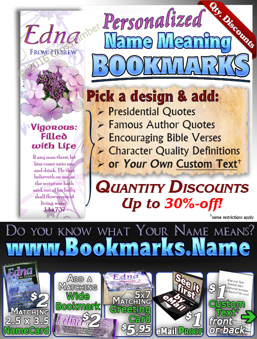 BM-FL16, Name Meaning Bookmark, Personalized with Bible Verse or Famous Quote,, personalized, flower, purple flower violet edna