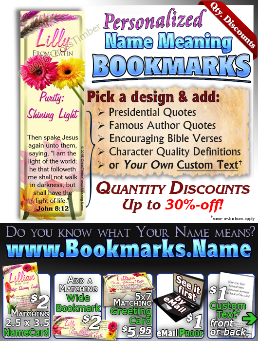 BM-FL18, Name Meaning Bookmark, Personalized with Bible Verse or Famous Quote,, personalized, flower,  lillian flower floral garden