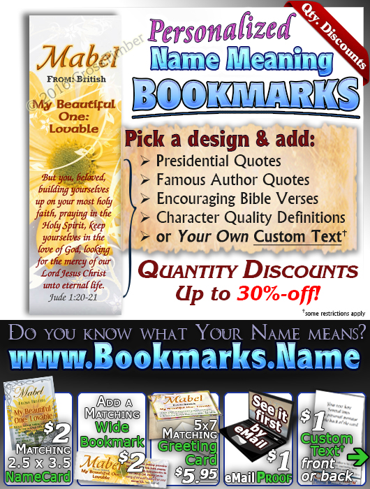 BM-FL20, Name Meaning Bookmark, Personalized with Bible Verse or Famous Quote,, personalized, floral flower,  mabel