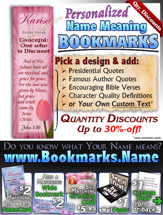 BM-FL25, Name Meaning Bookmark, Personalized with Bible Verse or Famous Quote,, personalized, floral flower, karisa pink tulips