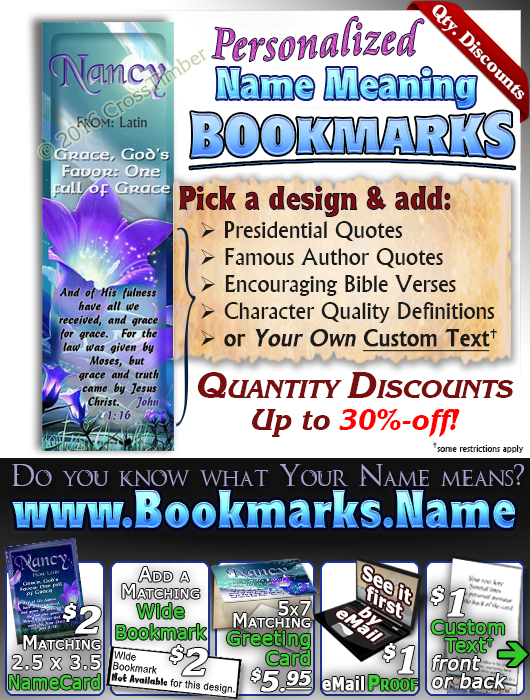 BM-FL29, Name Meaning Bookmark, Personalized with Bible Verse or Famous Quote,, personalized, floral flower, fairy fantasy purple flower moon