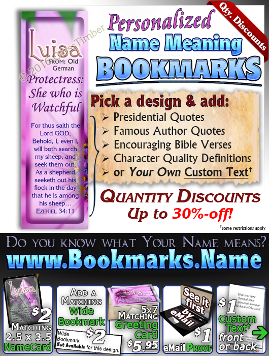 BM-FL34, Name Meaning Bookmark, Personalized with Bible Verse or Famous Quote,, personalized, floral flower,  luisa purple pink flower