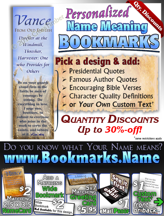 BM-GR01, Name Meaning Bookmark, Personalized with Bible Verse or Famous Quote,, personalized, Vance grain field harvest