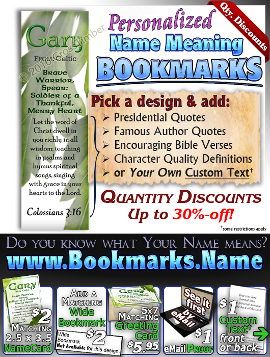 BM-LE02, Name Meaning Bookmark, Personalized with Bible Verse or Famous Quote,, personalized, gary leaf tree leaves green