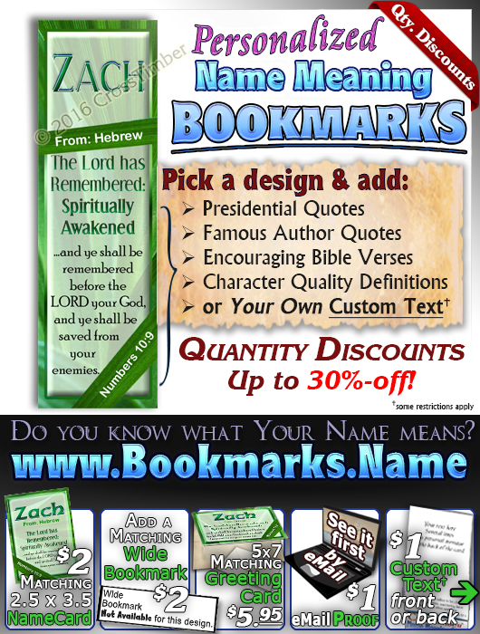 BM-LE04, Name Meaning Bookmark, Personalized with Bible Verse or Famous Quote,, personalized, zach leaf tree leaves green