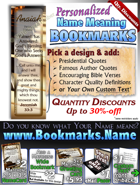 BM-MU01, Name Meaning Bookmark, Personalized with Bible Verse or Famous Quote, personalized, piano music notes anaiah