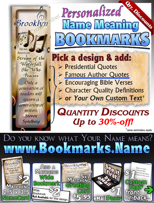 BM-MU12, Name Meaning Bookmark, Personalized with Bible Verse or Famous Quote,, personalized, music notes brooklyn