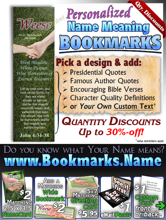 BM-PP12, Name Meaning Bookmark, Personalized with Bible Verse or Famous Quote,, personalized, relationship hands grandma grandson weese