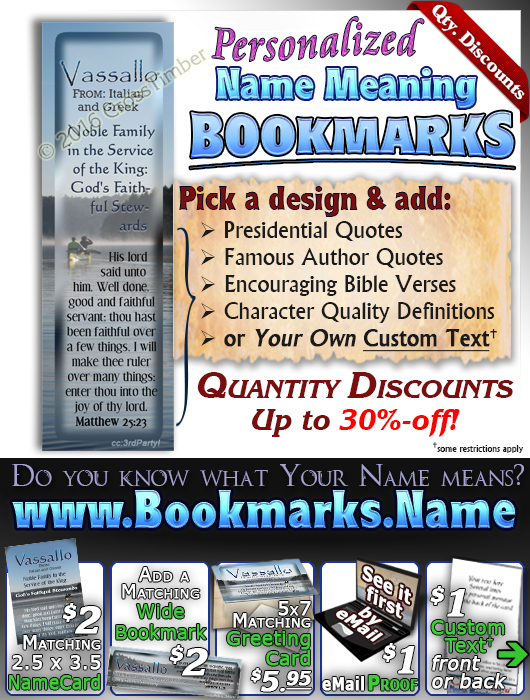 BM-SC01, Name Meaning Bookmark, Personalized with Bible Verse or Famous Quote,, personalized, canoe peace lake vassallo