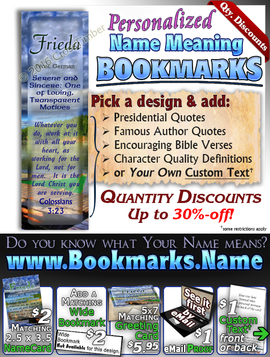 BM-SC06, Name Meaning Bookmark, Personalized with Bible Verse or Famous Quote,, personalized,dock lake peace frieda