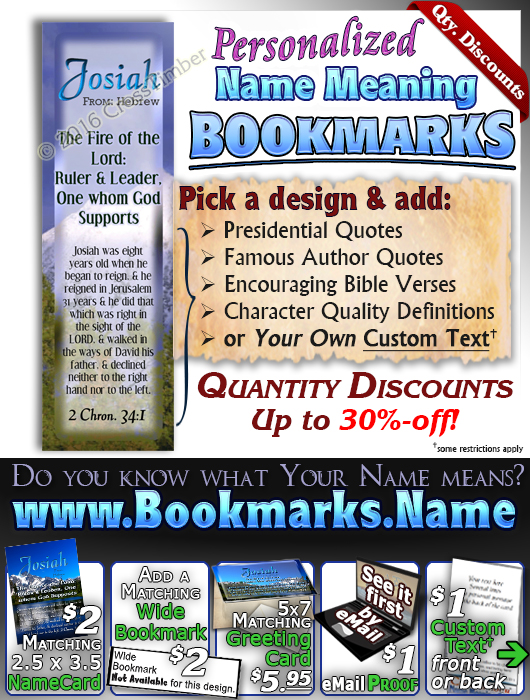 BM-SC07, Name Meaning Bookmark, Personalized with Bible Verse or Famous Quote,, personalized, josiah mountains lake scenery