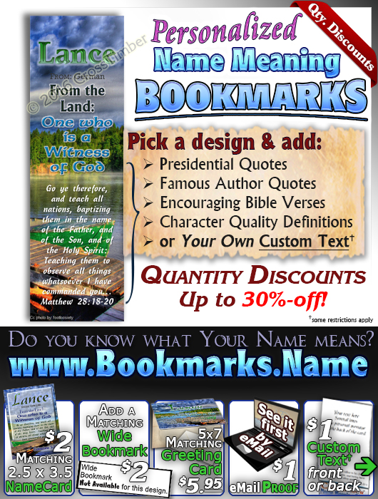 BM-SC10, Name Meaning Bookmark, Personalized with Bible Verse or Famous Quote,, personalized, lance dock lake peace