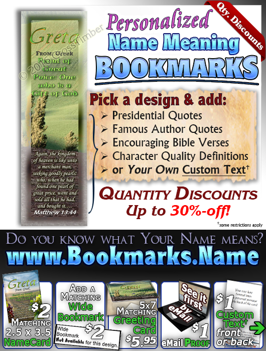 BM-SC14, Name Meaning Bookmark, Personalized with Bible Verse or Famous Quote,, personalized, Greta rolling hills peace Italy