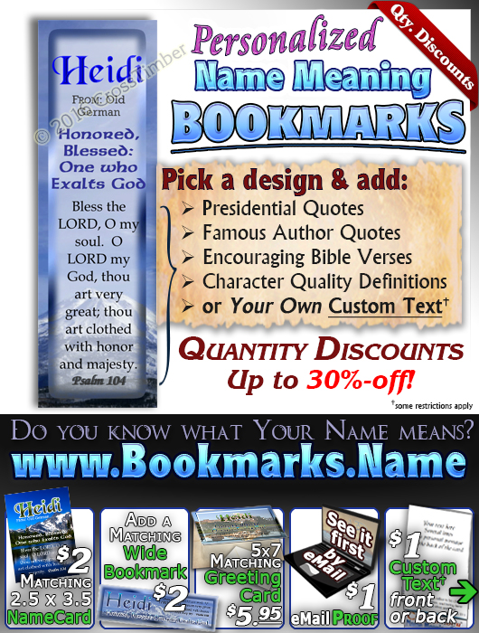 BM-SC17, Name Meaning Bookmark, Personalized with Bible Verse or Famous Quote,, personalized, mountain heidi lake