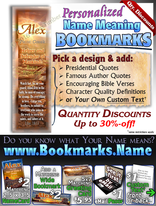 BM-SC21, Name Meaning Bookmark, Personalized with Bible Verse or Famous Quote,, personalized, western alex, sunset